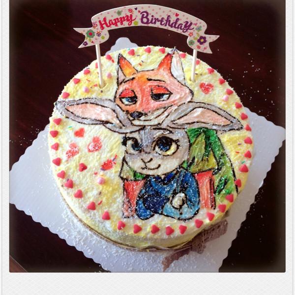 疯狂动物城彩绘蛋糕