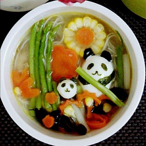萌熊猫版鸡汤面线的做法