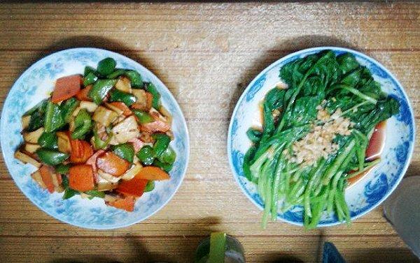 今晚的晚餐还是各种颜色菜式搭配