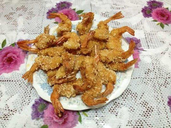 彭半仙的凤尾虾排做法的学习成果照