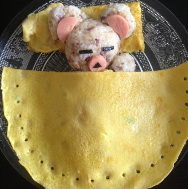 油麦黑tao的可爱小熊饭团做法的学习成果照