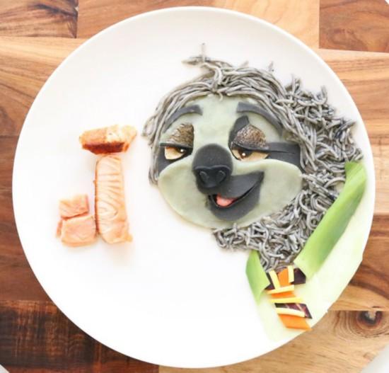 用炸肉排配土豆泥和蔬菜做了《疯狂动物城》中的绵羊副市长▼