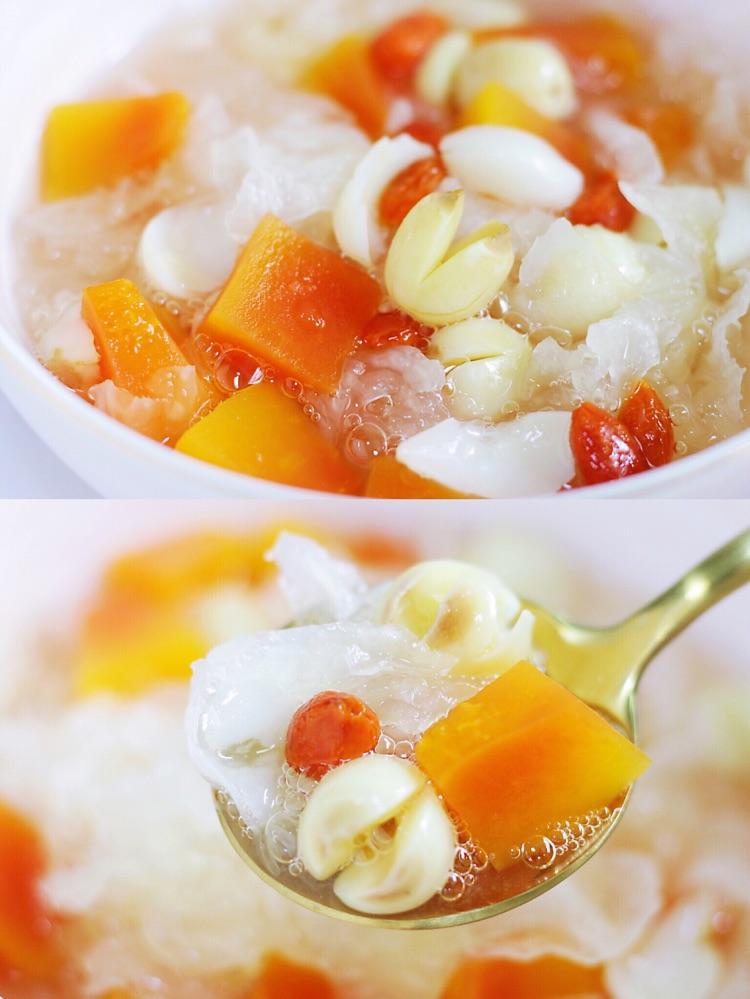 夏日必备甜汤,平价滋补养颜的木瓜银耳莲子汤羹!图1