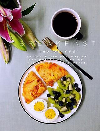 罗勒酱的快手早餐首选~美味的鸡肉批萨😉😉