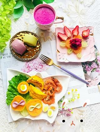 筝上神的美美哒早餐~简单易做哦~五颜六色聚会啦~火龙果颜色真心惊艳!