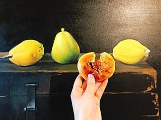 天蝎麻麻的🍐梨(油画)+现烤蜜豆小面包