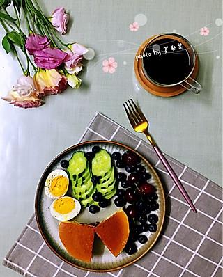 罗勒酱的6.17早安 咖啡+蓝莓芝士蛋糕+鸡蛋+黄瓜樱桃蓝莓