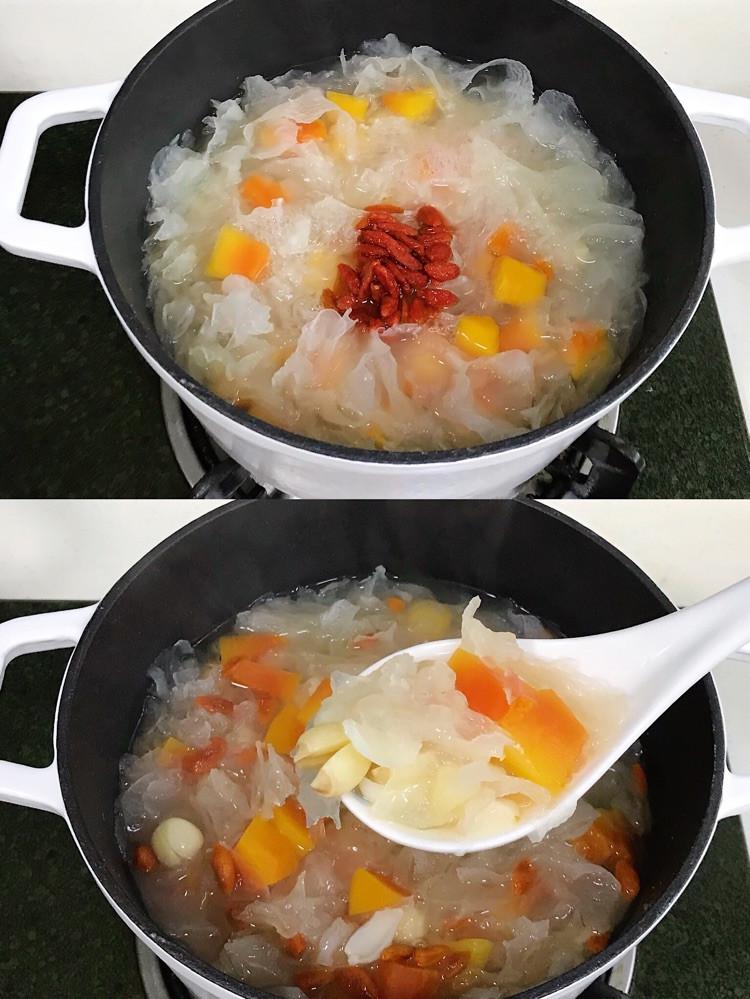 夏日必备甜汤,平价滋补养颜的木瓜银耳莲子汤羹!图8