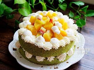 多幸福多快乐的菠菜戚风水果裸蛋糕