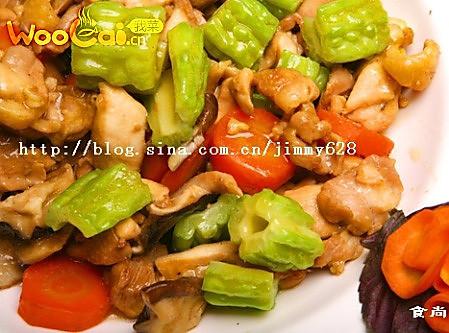 苦瓜蘑菇蒸滑鸡