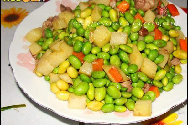 家常小炒--毛豆炒肉丁的做法