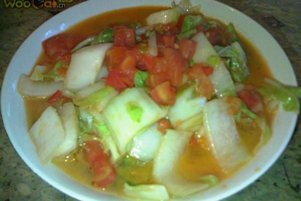 番茄炒大白菜的做法