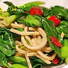小油菜炒豆腐丝——豆果热推便宜实惠小菜