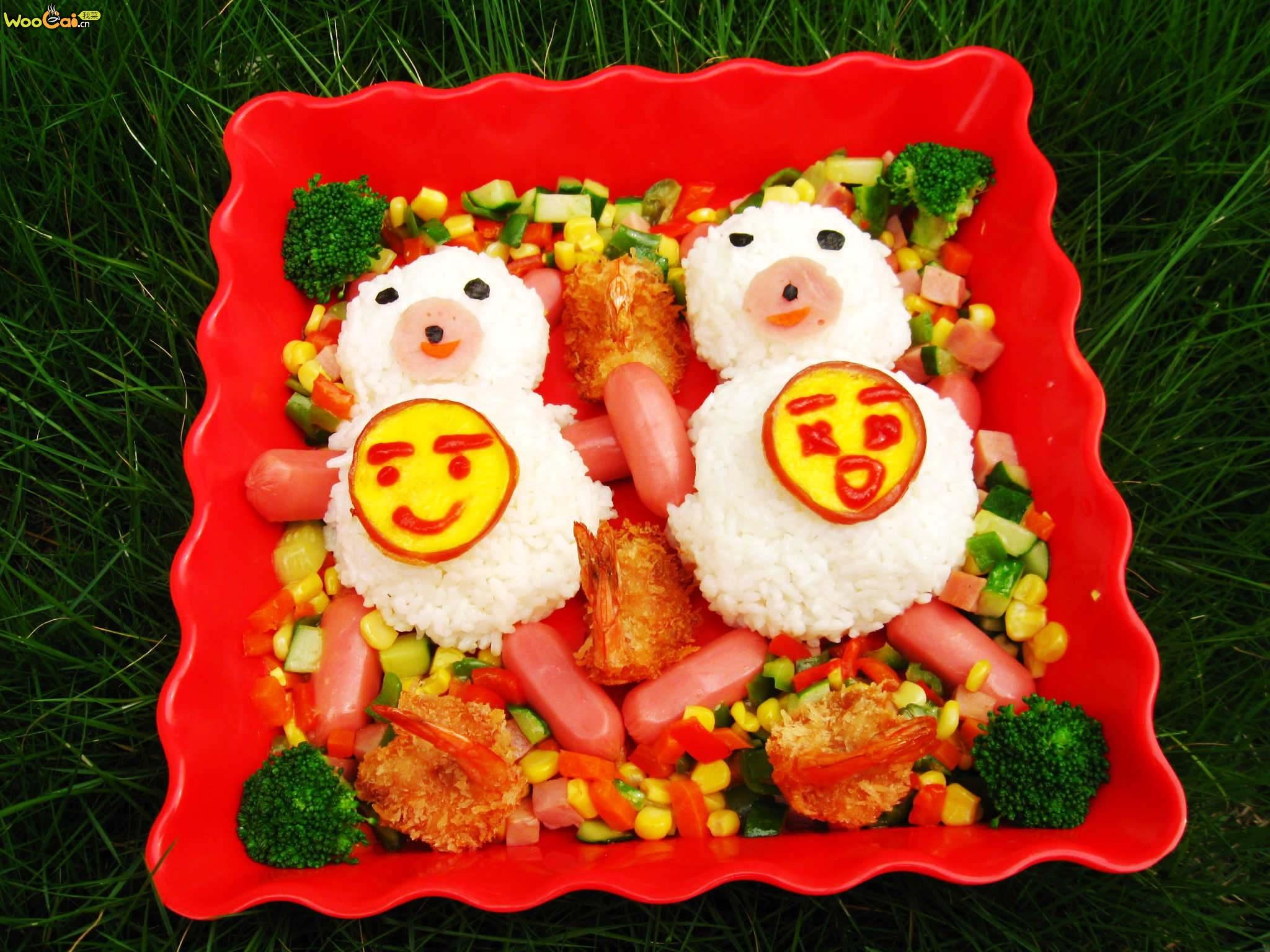 日式炸虾 冷食午餐便当  日式蛋包饭 オム.