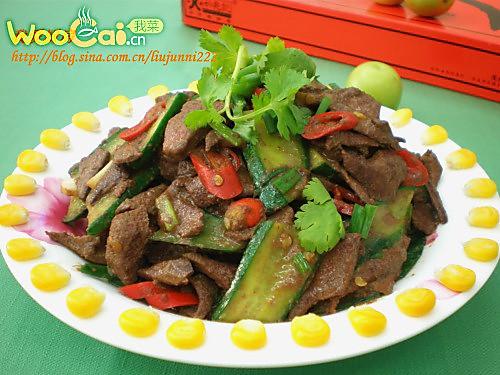 家常菜——青瓜炒猪肝的做法