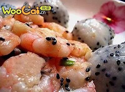 火龙果虾仁的做法