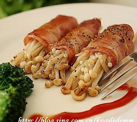 美丽厨娘-培根金针菇卷的做法
