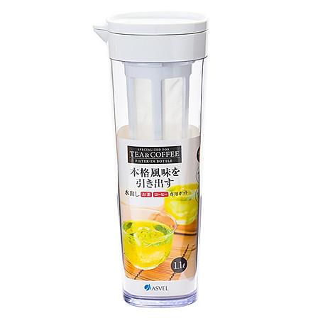 ASVEL 日本带茶滤冷水壶1.1L白色+送杯刷