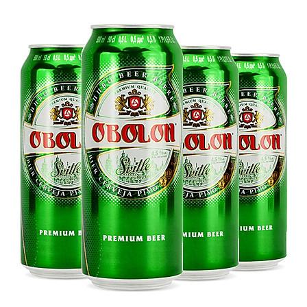 乌克兰原装进口 奥伯龙淡色啤酒500ml*4听 聚会K歌必备