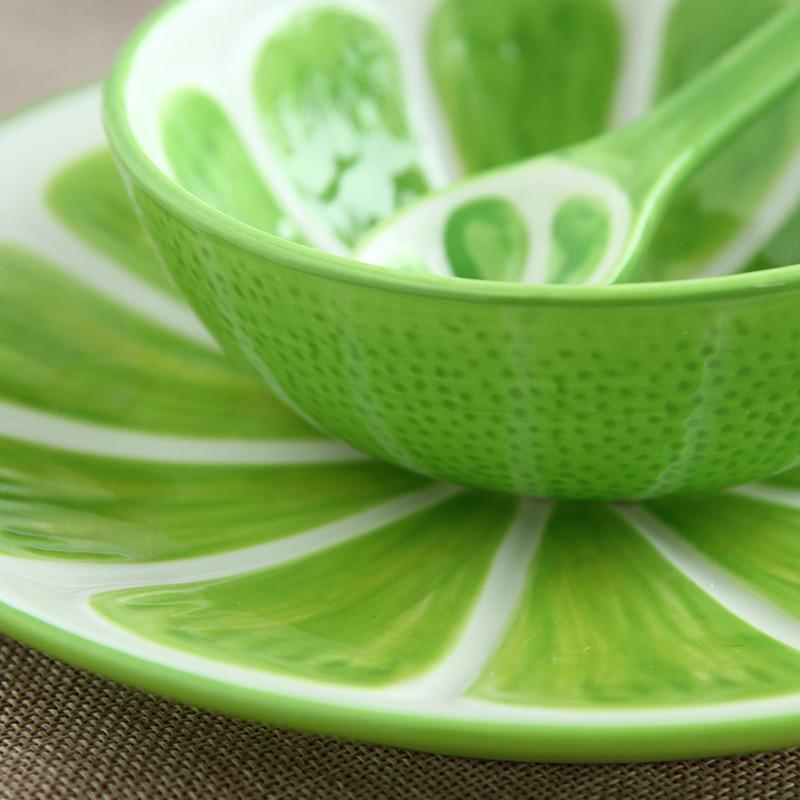 【趣玩】homee创意手绘水果系列餐具套装-哈密瓜(碗 盘子 勺子)